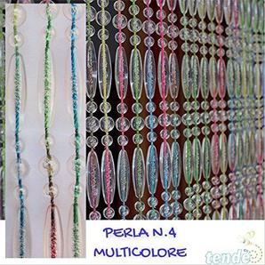 Rideau/Moustiquaire en PVC – modèle Perle - Bâtonnet DALUMINIUM - Made in Italy - Mesures Standard (95x200/100X220/120X230/130X240/150X250) - (100X220, ARLEQUIN TRANSPARENT [4])