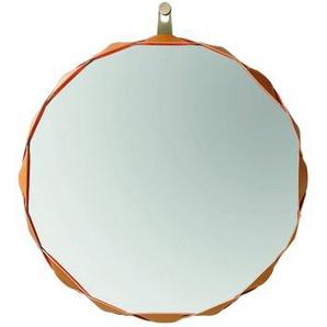 Zanotta Raperonzolo - Miroir Ø 51cm - or/cuir/étoffe Alcantara/face interne avec étoffe couleur d'or