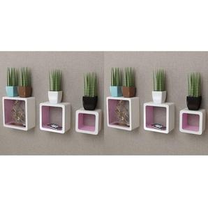 Étagères murales Forme de cube 6 pcs Blanc et rose