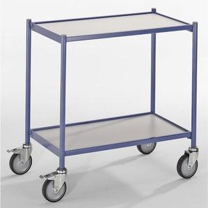 EUROKRAFT Chariot à plateaux, force 150 kg - sans barre de poussée - 2 plateaux, 4 roulettes pivotantes, dont 2 avec
