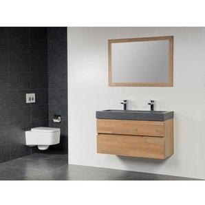 Saniclass Natural Wood Meuble salle de bain avec miroir 100cm suspendu Grey Oak avec vasque en pierre naturelle Grey Stone 2 trous pour robinetterie SW3193