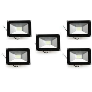 5×Anten 30W Projecteur LED Spot LED Étanche IP65 Léger Lampe Solide pour Extérieur et Intérieur Blanc Froid 6000K Coque Noir