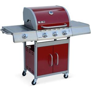 Barbecue au gaz Richelieu rouge, 4 brûleurs dont 1 feu latéral 14kW, côté grill et plancha, cuisine extérieure - ALICES GARDEN