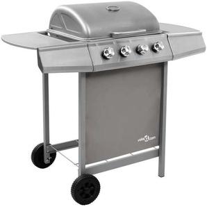 Hommoo Barbecue gril à gaz avec 4 brûleurs Argenté