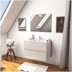Ensemble Meuble de salle de bain blanc 60cm suspendu a 2 tiroirs + vasque ceramique blanche + miroir applique led - STARTED pack 9 - AURLANE