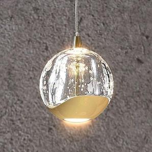 Suspension LED Hayley sphère verre, 1lampe, doré