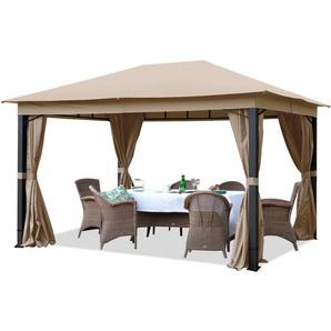 Pavillon de Jardin 3x4m ALU Premium 280 g/m² bâche imperméable tonnelle 4 côtés Tente de Jardin Taupe Clair 9x9cm Profil - INTENT24.FR