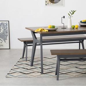 Jenson, ensemble table extensible et 2 bancs, chêne fini foncé et gris