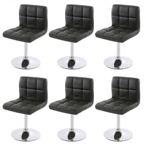 Lot de 6 chaises fauteuils de salle à manger en simili-cuir noir - DéCOSHOP26
