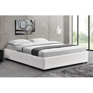 Lit Kennington - Structure de lit Blanc avec coffre de rangement intégré -140x190 cm