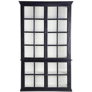 Bibliothèque 4 portes vitrées en manguier noir Descartes