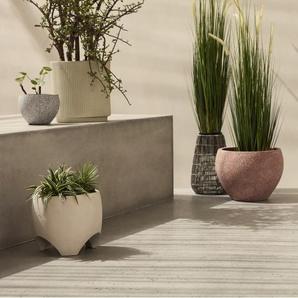 Echo, piédestal pour plantes ovale sur pied bas en zinc thermolaqué par poudrage, vert menthe