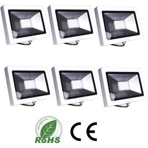 6×Auralum 30W Projecteur LED Ultraléger 2250LM Éclairage IP65 Extérieur et Intérieur de Haute Luminosité Spot LED Blanc Chaud 2800-3200K