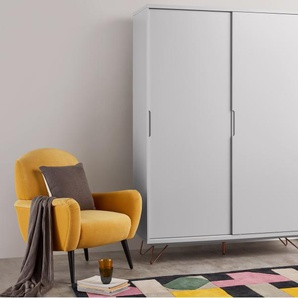 Elona, armoire à portes coulissantes, gris et cuivre