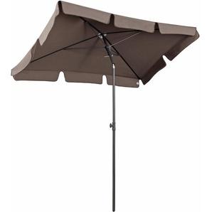 Sekey Parasol de Jardin 200 × 125 cm Parasol de terrasse Protection Solaire UV 50+ Cappuccino Rectangulaire