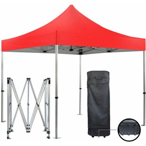 Barnum pliante 3x3m 50mm en aluminium premium PRO 520Gr/m2 étanche rouge tente de Réception Qualité - GREADEN
