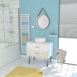 Meuble Salle De Bain Scandinave Blanc 80 Cm Sur Pieds Avec Tiroir, Vasque A Poser Et Miroir Rond - Nordik Skal Runt 80 - AURLANE