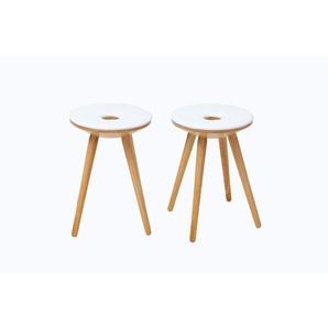Tabourets dappoint design bois naturel et blanc (lot de 2) NORDECO - MILIBOO