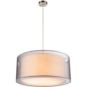 Suspension LED, textile, gris, H 140 cm, THEO - ETC-SHOP