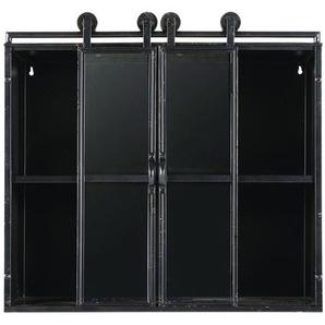 Étagère indus 2 portes en verre et métal noir
