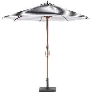 Parasol avec pied central en bois et toile rayée blanche et noire - BELIANI