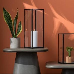 Kala, grande lanterne rectangulaire en verre, métal noir
