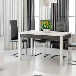 Table à manger blanc laqué et ardoise design JULIA
