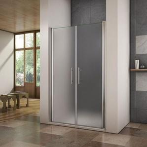 Porte de douche pivotante 120x195cm verre anticalcaire et verre dépoli cabine de douche en niche - AICA SANITAIRE