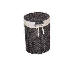 Panier à linge avec couvercle amovible en jacinthe deau noir/crème - DéCOSHOP26