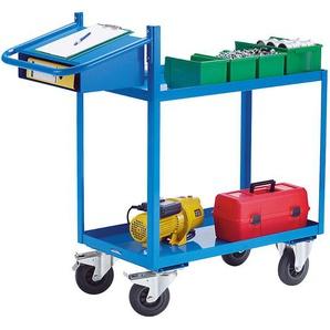 EUROKRAFT Chariot de montage, force 250 kg - avec plateaux en auge, écritoire et compartiment coulissant - dim. plateaux