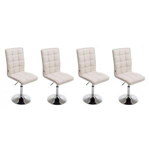 Lot de 4 chaises de salle à manger hauteur réglable en tissu crème - DéCOSHOP26