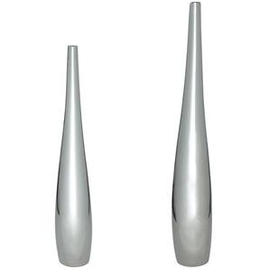 2 vases en céramique argentée H115