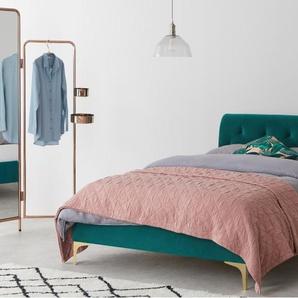 Linnell, lit king size (160 x 200) avec sommier, velours bleu et laiton