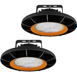 2×Anten 200W UFO Projecteur LED Dimmable Projecteur LED déclairage Industriel Suspension IP65 Phare de Travail Spot Lumière Éxtérieur et Indérieur Blanc Froid 6000K (Variateur non compris)