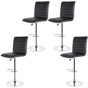 Lot de 4 Chaises de Bar Pied en Métal Pivotantes et Réglables en Hauteur 55 cm - 75 cm Noir - OOBEST