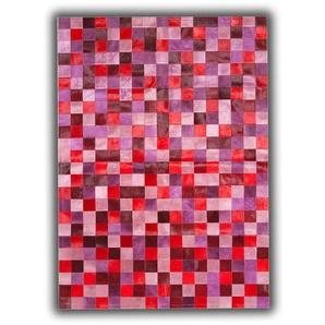 Tapis en cuir naturel patchwork rose design Toledo Rose 180x240 - Rose - ALLOTAPIS