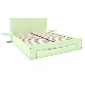 Lit Happy + tiroirs + chevets amovibles - 2 places 140x200 Vert Pastel