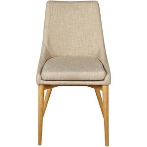 Lot de 2 chaises en tissu beige piètement bois (prix unitaire : 130.0 euros)