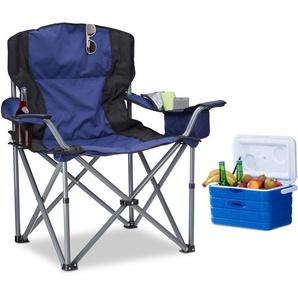 Chaise de camping pliante chaise de jardin pliable avec dossier et porte-gobelet HxlxP: 95 x 94 x 63 cm, bleu-noir - RELAXDAYS