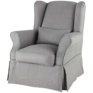 Housse de fauteuil en lin grise Cottage