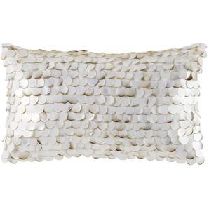 Coussin blanc et perles écailles effet nacrées 30x50