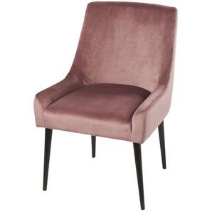 Chaise en velours vieux rose et bouleau Otto