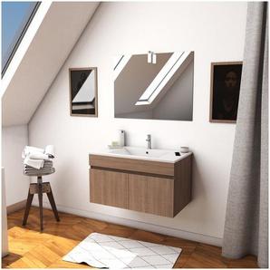 Ensemble Meuble de salle de bain chene celtique 60cm suspendu a portes + vasque ceramique blanche + miroir applique led - STARTED pack 6 - AURLANE