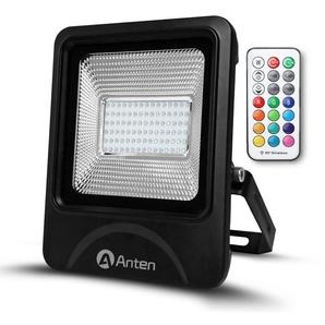 Anten 50W RGB Projecteur LED IP65 Étanche Lampe Halogène 16 Couleurs 4 Modes, Ultra-Mince Spot Éclairage Dimmable Extérieur, Spot LED Multicolore avec Télécommande (Boîte de Jonction Fournie)