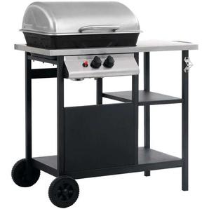 Hommoo Barbecue à gaz avec tablette à 3 couches Noir et argenté