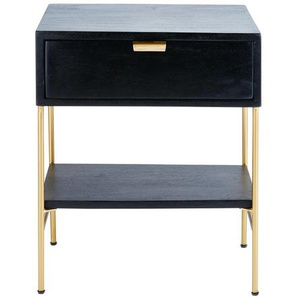 Chevet 1 tiroir en acacia massif noir et métal doré Jagger