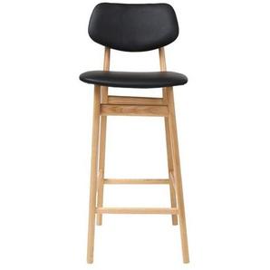 Chaise de bar design noir et bois naturel 65 cm NORDECO - MILIBOO
