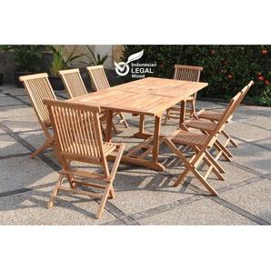Kajang : Salon de jardin Teck massif 8 personnes - Table rectangulaire + 8 chaises