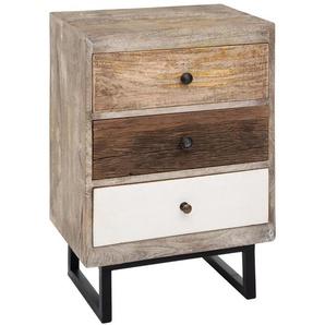 Table de chevet en bois de manguier, de 3 tiroirs - L.49 x l.33 x H.73 cm -PEGANE-