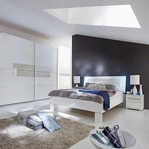 PEGANE Chambre Adulte en Panneaux de Particules Coloris décor Blanc Alpin - Dim : 160 X 200 cm